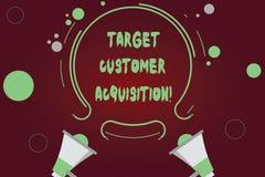 Handschrifttekst het schrijven de Aanwinst van de Doelklant Het concept die Overredend een consument om een bedrijf s te kopen is stock afbeelding