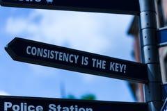 Handschrifttekst het schrijven de Consistentie is de Sleutel Conceptenbetekenis door Breaking Bad-Gewoonten en het Vormen van Goe stock foto
