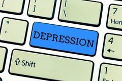 Handschrifttekst het schrijven Depressie Concept die Gevoel van strenge wanhoop en dejectiestemmingswanorde betekenen stock illustratie