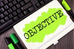 Handschrifttekst het schrijven Doelstelling Het concept die Doel betekenen was bereikte Gewenste die doelvennootschapopdracht te  stock afbeeldingen