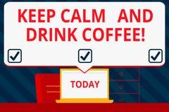 Handschrifttekst het schrijven houdt Kalm en drinkt Koffie De conceptenbetekenis bevordert het aantonen om cafeïne van drank te g vector illustratie