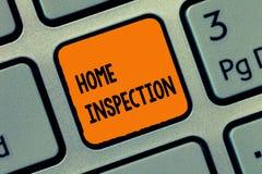 Handschrifttekst het schrijven Huisinspectie Concept die Onderzoek van de voorwaarde van een naar huis verwant bezit betekenen royalty-vrije stock afbeelding