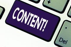Handschrifttekst het schrijven Inhoud Concept die Website exclusief bevatten en het bevatten van rijk informatietoetsenbord betek royalty-vrije stock foto