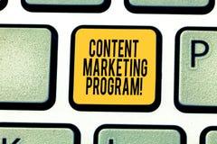Handschrifttekst het schrijven Inhoud Marketing Programma Concept die strategische methode om waardevol merk betekenen te leveren royalty-vrije stock foto