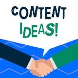 Handschrifttekst het schrijven Inhoudsideeën Concept die de geformuleerde gedachte of het advies voor inhoudscampagne betekenen stock illustratie