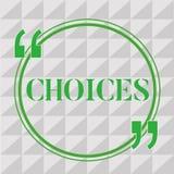 Handschrifttekst het schrijven Keuzen Concept die Opties betekenen die tussen twee of meer mogelijkhedenbesluiten kiezen stock illustratie