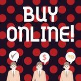 Handschrifttekst het schrijven koopt online Concept die e-commerce betekenen die consumenten toestaat om goederen direct te kopen royalty-vrije illustratie