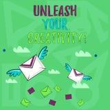 Handschrifttekst het schrijven laat Uw Creativiteit los De conceptenbetekenis ontwikkelt de Persoonlijke Wijsheid van de Intellig royalty-vrije illustratie