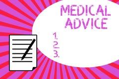 Handschrifttekst het schrijven Medisch advies Het concept die Begeleiding van een gezondheidszorgdeskundige betekenen over aanton royalty-vrije illustratie