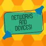 Handschrifttekst het schrijven Netwerken en Apparaten Conceptenbetekenis wordt gebruikt om computers of andere elektronische appa royalty-vrije illustratie