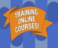Handschrifttekst het schrijven Opleidings Online Cursussen De conceptenbetekenis levert een reeks lessen aan 3D Gevouwen Webbrows royalty-vrije illustratie