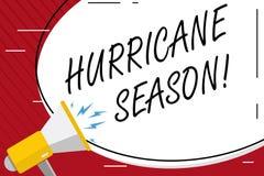 Handschrifttekst het schrijven Orkaanseizoen Concept die tijd betekenen wanneer de meeste tropische cyclonen zich zouden moeten o stock illustratie