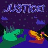 Handschrifttekst het schrijven Rechtvaardigheid E royalty-vrije illustratie