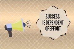 Handschrifttekst het schrijven het Succes is Afhankelijk van Inspanning De conceptenbetekenis levert inspanning om Blijvend Verbl stock illustratie