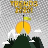 Handschrifttekst het schrijven Tendensen 2020 Concept die algemene richting betekenen waarin iets zich ontwikkelt of verandert stock illustratie