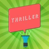 Handschrifttekst het schrijven Thriller Concept die nieuwe spel of film met het opwekken van perceel betekenen die typisch misdaa stock illustratie