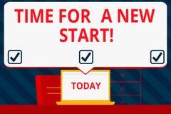 Handschrifttekst het schrijven Tijd voor een Nieuw Begin Het concept die iets betekenen is verondersteld om met Verse baanspatie  royalty-vrije illustratie