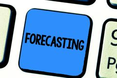 Handschrifttekst het schrijven het Voorspellen De conceptenbetekenis voorspelt Raming een toekomstige die gebeurtenis of een tend stock foto