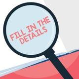 Handschrifttekst het schrijven vult de Details in De conceptenbetekenis voegt Informatie in een Lege Ruimte in een Document toe royalty-vrije illustratie
