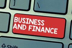 Handschrifttekst het schrijven Zaken en Financiën Concept die Beheer van Activageld en Fonds van een bedrijf betekenen stock fotografie