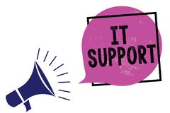 Handschrifttekst het Steun Concept die Lenend hulp over informatietechnologie en de relatieve luidspreker van de kwestiesmegafoon vector illustratie
