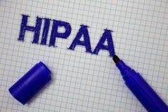 Handschrifttekst Hipaa Het concept die van de Ziektekostenverzekeringportabiliteit en Verantwoordingsplicht Akte Gezondheidszorgw stock afbeeldingen