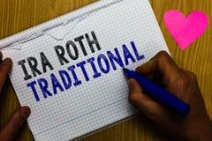 Handschrifttekst Ira Roth Traditional De conceptenbetekenis is voor de belastingen aftrekbaar op zowel staat als federale Documen royalty-vrije stock afbeelding