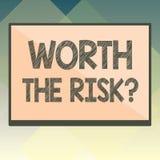 Handschrifttekst met een waarde van de Risicokwestie Concept die vragend betekenen of bracht bepaalde actie met zijn reactie in e vector illustratie