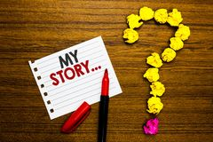 Handschrifttekst Mijn Verhaal Het concept die vertellend iemand of lezers over hoe u uw het levensdocument teller betekenen leefd royalty-vrije stock foto's