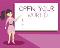 Handschrifttekst Open schrijven Uw Wereld De conceptenbetekenis verbreedt uw mening en mentaliteit van om het even welke negativi royalty-vrije illustratie