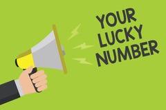 Handschrifttekst Uw Lucky Number Concept die het geloven in van de de Verhogingskans van het brievenfortuin van de het Casinoaank royalty-vrije illustratie