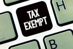 Handschrifttekst Van belastingen vrijgesteld schrijven Het concept Inkomen betekenen of de transacties die dat van belastingen vr royalty-vrije stock afbeelding
