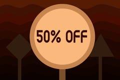 Handschrifttekst 50 weg Concept die Korting van vijftig percenten over regelmatige de Verkoopontruiming van de prijsbevordering b stock illustratie