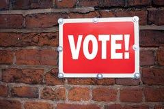 Handschrifttext-Titelinspiration, die Abstimmungskonzept-Bedeutung Abstimmungsstimme für die präsidentschaftswahl geschrieben auf Lizenzfreie Stockfotos