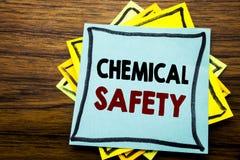 Handschrifttext-Titelinspiration, die chemische Sicherheit zeigt Geschäftskonzept für Gefahrengesundheit bei der Arbeit geschrieb stockfotografie