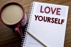 Handschrifttext-Titelinspiration, die Liebe sich zeigt Geschäftskonzept für positiven Slogan für Sie geschrieben auf das kein Bri Lizenzfreies Stockbild