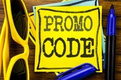 Handschrifttext-Titelinspiration, die Promo-Code zeigt Geschäftskonzept für Förderung für das on-line-Geschäft geschrieben auf kl Stockbild