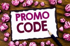 Handschrifttext-Titelinspiration, die Promo-Code zeigt Geschäftskonzept für Förderung für das on-line-Geschäft geschrieben auf kl Stockbilder