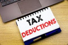 Handschrifttext-Titelinspiration, die Steuerabzüge zeigt Geschäftskonzept für Finanzden ankommenden Steuer-Geld-Abzug an geschrie Lizenzfreies Stockbild