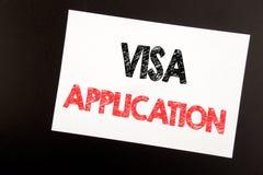 Handschrifttext-Titelinspiration, die Visumsantrag zeigt Geschäftskonzept für Pass Apply geschrieben auf die klebrige Anmerkung,  stockfoto