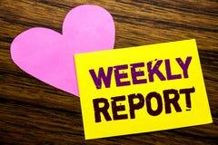 Handschrifttext-Titelinspiration, die Wochenbericht zeigt Geschäftskonzept für das Analysieren der Leistung geschrieben auf klebr lizenzfreie stockfotografie
