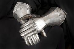 Handschuh des Ritters Metall stockfotos