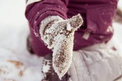 Handschuh im Schnee Stockbilder