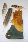 Handschuh und Federn. Stockbilder