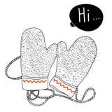 Handschuhe auf einer Schnur mit Raum für Text Lizenzfreie Stockfotografie