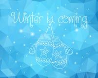 Handschuhe auf Winter funkelt abstrakter Hintergrund Stockbilder