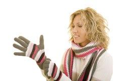 Handschuhe ein erhalten Lizenzfreie Stockfotos