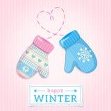 Handschuhe. Glückliche Winter-Illustration. Kann für Winter desig verwendet werden Lizenzfreie Stockfotos