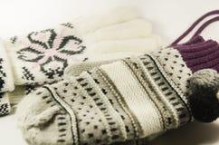 Handschuhe und Handschuhe Wollen Stockfotografie