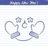 Handschuhillustration für das neue Jahr - Skizze auf Schulnotizbuch Lizenzfreies Stockfoto